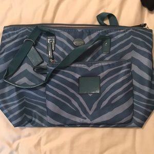 Coach zebra print nylons tote with accessory bag